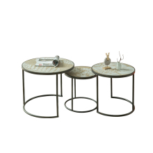 Unique Industrial Simple Wind Modern Metal Round Tea Table Living Room Sets Three Leisure Tea Table Retro Coffee Table