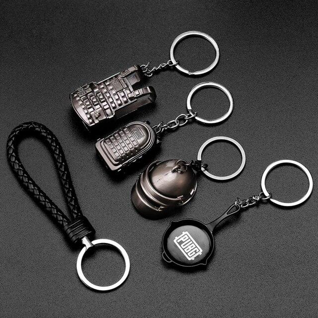 PUBG Keychain Armor Bag Car Key Chain Helmet Pan Equipment Toys Keyring Fashion Jewelry FPS CS Game Fans Gift for Men Friends 1