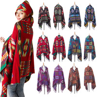 Autumn Winter New Bull Horn Button Ethnic Wind Belt Cape Shawl Bohemian Manteau Femme Blanket Scarf