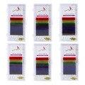 12 Linhas/Set 6 Cores Extensão Natural Cílios Falsos Mista Rainbow 0.1mm Colorido Maquiagem Ferramentas