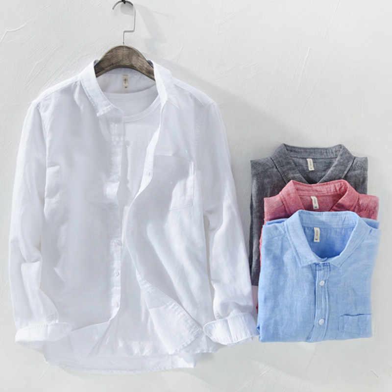 Camisa masculina 2019 Mannen Effen kleur Ademend Linnen lange mouwen Vest Turn-down kraag Jurk shirts chemise homme