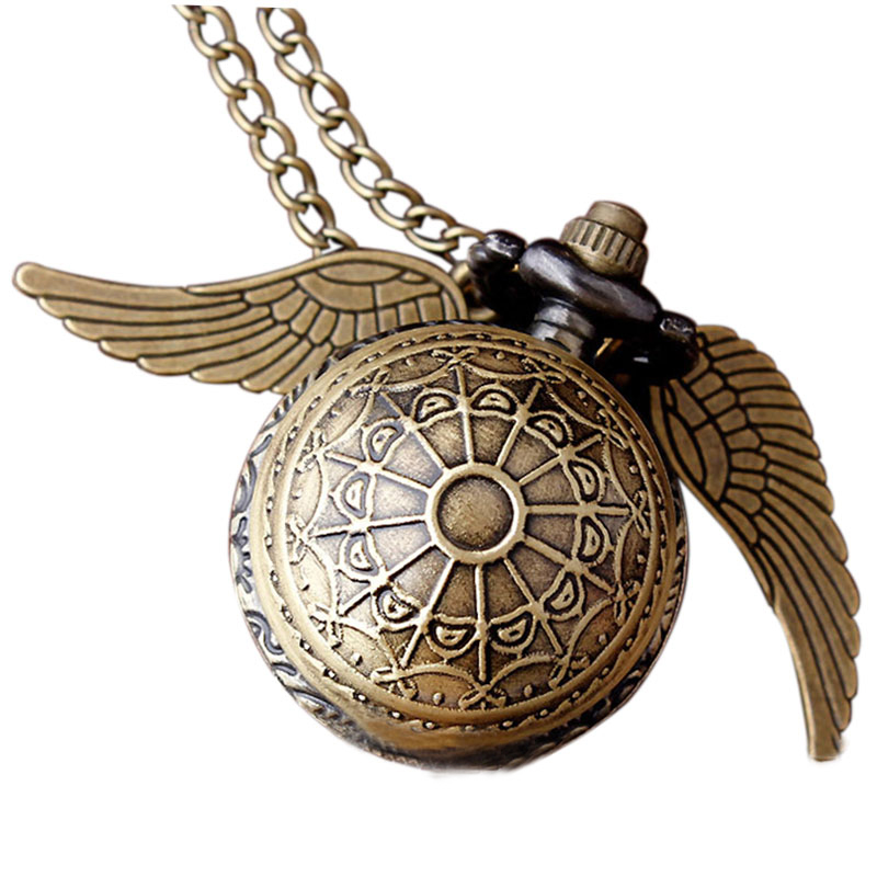 Harry Potter Golden Snitch Necklace Pocket Watch Ball Shape Bronze Wing Metal Quartz Vintage Clock Chain Pendant Women Men style bird and pocket watch shape women s pendant necklace