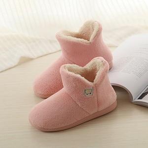 Image 5 - FAYUEKEY 새로운 겨울 패션 홈 여성 코튼 플러시 가짜 모피 두꺼운 따뜻한 구두 실내 층 야외 여성 플랫 신발