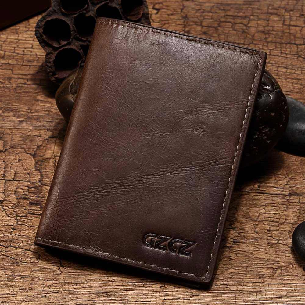 460d5fd55eb4 GZCZ Genuine Leather Men Wallet Passport Cover ID Business Card Holder  Travel Credit Case Rfid Driving License Bag Small Walet