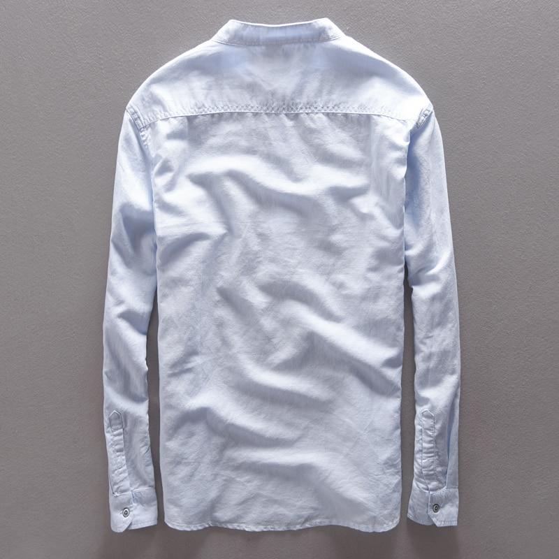 Lane moške majice z dolgimi rokavi, lanene majice s kratkimi rokavi, - Moška oblačila - Fotografija 2