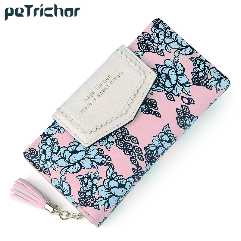 Tassel Zipper Clutch Wallets Women Floral Hasp Ladies Long Wallet Brand Designer Card Photo Holder Change Purse for Female women wallet female purse card holder long clutch high quality change purse fashion brand three fold photo dollar price wallets