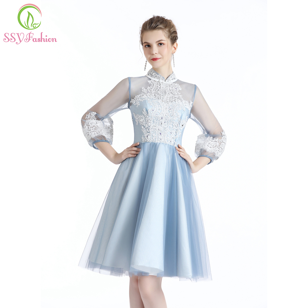 SSYFashion New Short Cocktail Dresses Light Blue Long Sleeved High-neck Knee-length Lace Appliques Formal Gown Robe De Soiree