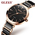 OLEVS Luxus Diamant Quarz Armbanduhren für Frauen Keramik Armband Wasserdichte Uhr Ultra Dünne 8mm Kleine Gold Fall Damen Uhren-in Damenuhren aus Uhren bei