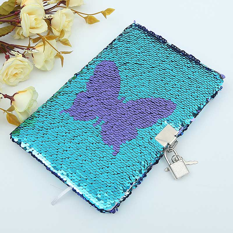 Butterfly Mermaid Sequins Diary Notebook For Lady Paper Glitter Notepad School Office Writing Stationery DIY Notebooks A5