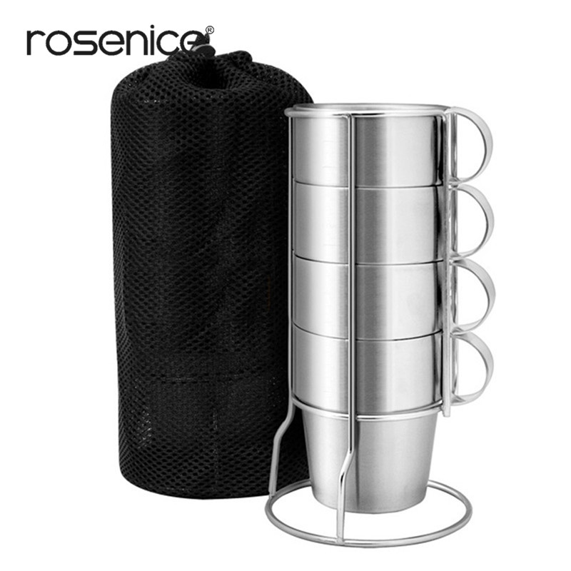 4pcs Stainless Steel Cups Wine Beer Coffee Cup Whiskey Mugs Double-Layer with Stand and Mesh Bag Outdoor Travel Cup Set