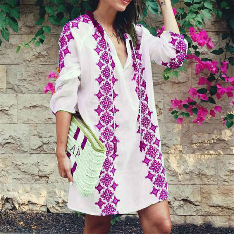 81c0f2d177d79 Cotton Embroidery Pareo Beach Cover Up 2019 Sexy Swimwear Women Swimsuit  Cover Up Kaftan Beach Dress