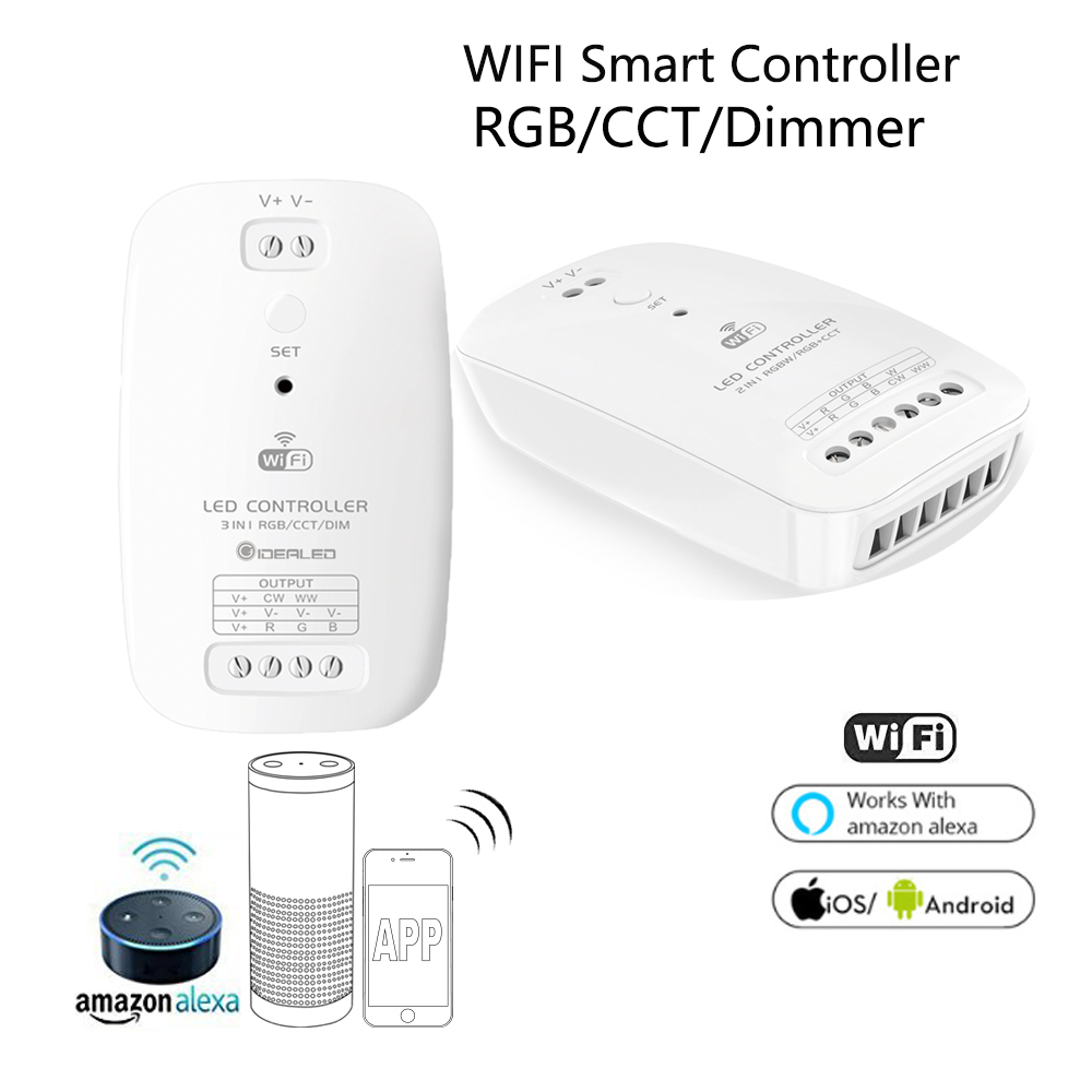 Smart Wifi LED Controller Phone APP RGB CCT Dimmer led Strip Controller By Amazon Echo plus Alexa Google Home Voice Control RGB smart wifi controller phone app rgb cct dimmer strip controller by amazon echo alexa google home smart voice control rgb strip