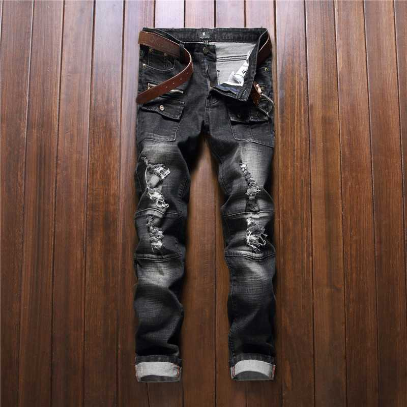 #2767 2016 Stretch Black jeans men Fashion Hip hop jeans Skinny Famous brand men Ripped jeans men Moto Distressed jeans