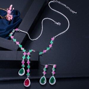 Image 3 - CWWZircons エレガントな多色キュービックジルコニア石ロング女性ネックレスとイヤリングセット T226