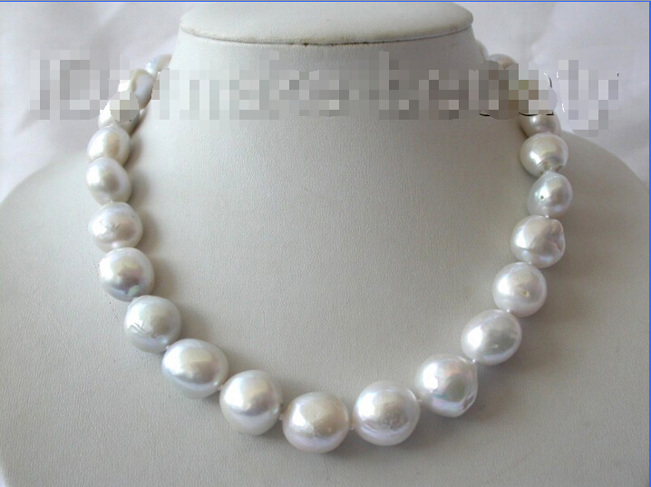 Free shipping >>>>>>stunning big 16mm baroque white gray reborn keshi freshwater pearl necklace b601 цена и фото