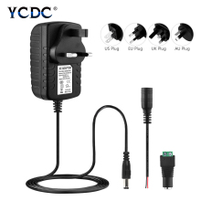 Адаптер преобразователя питания, штепсельная вилка стандарта ЕС и США, переменный ток 100-240 В в постоянный ток, 12 В, 2 А, импульсный трансформатор, зарядное устройство для светодиодных лент, светильник CCTV, драйвер
