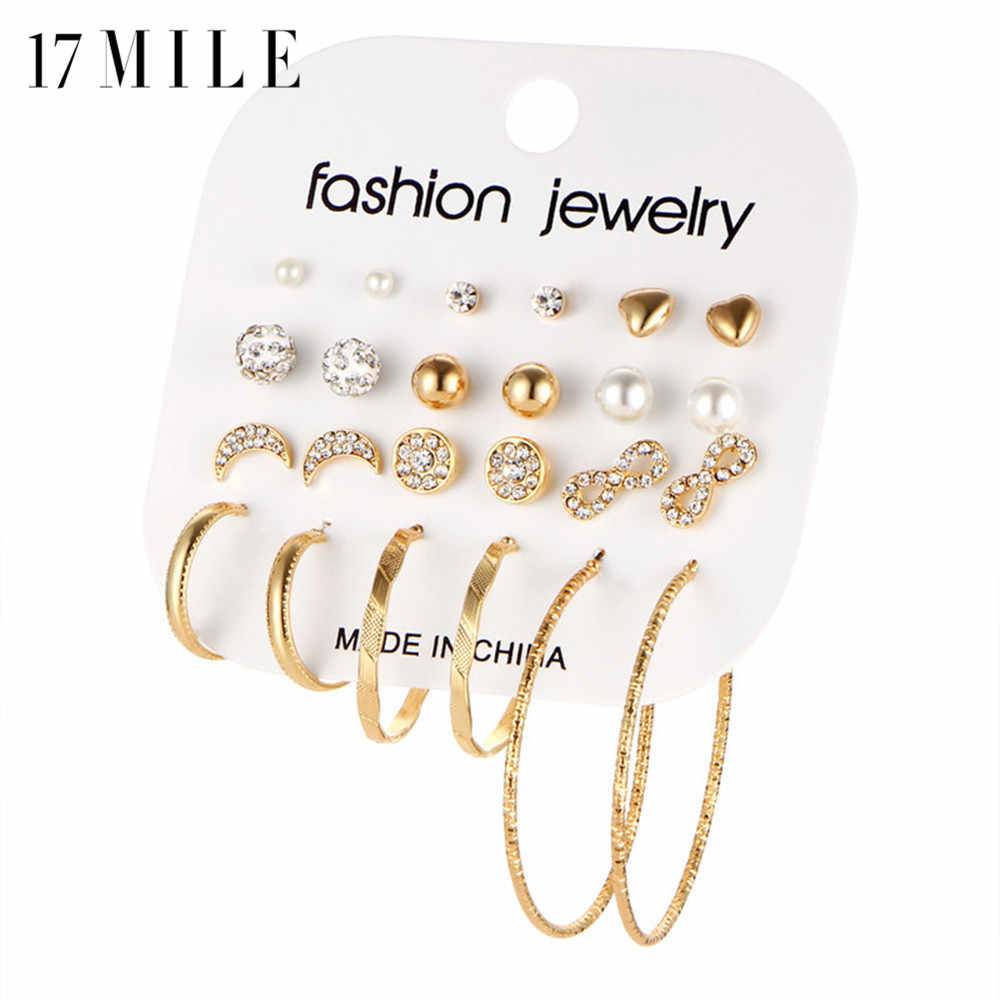 17MILE Fashion Crystal Infinite Earrings Set For Women Rhinestone Simulated Pearl Big Circle Earring Statement Brincos Jewelry