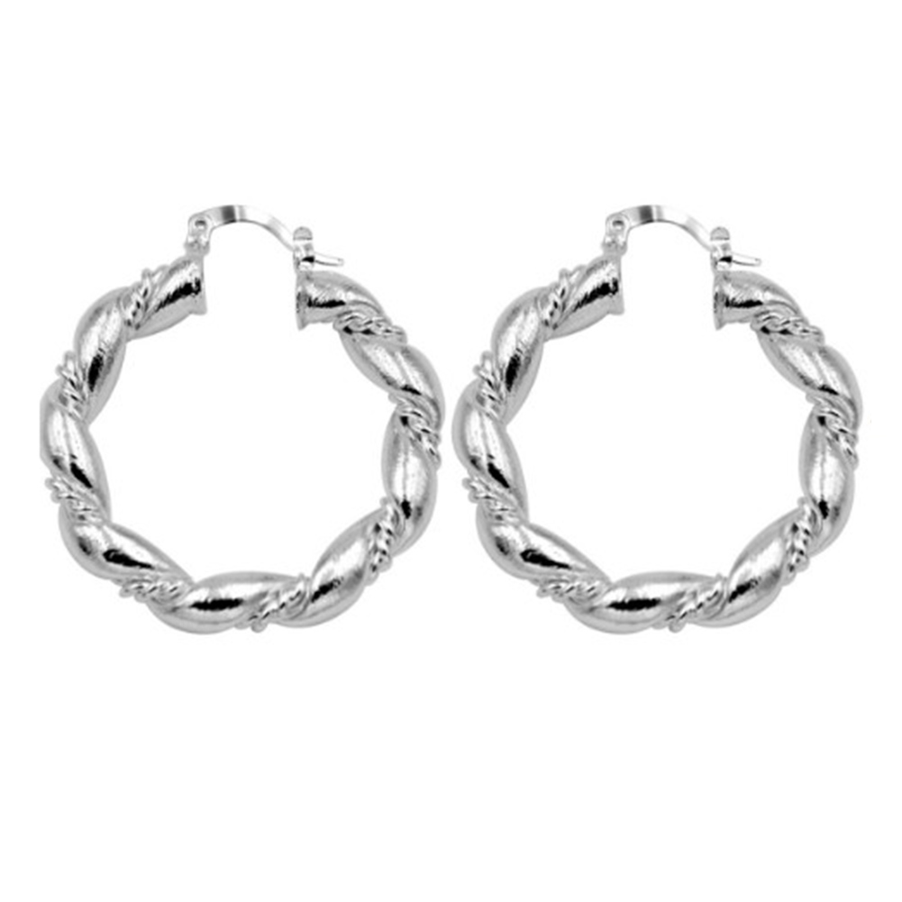 Women Big Round Circle Twist Rope Dangle Silver Color Earrings Ear Jewelry Gift 1 Pair Earrings