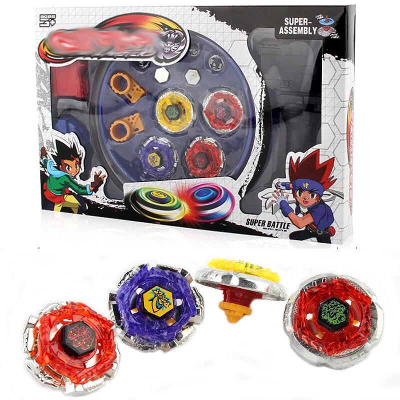 4 pièces/ensemble Spin hauts stade Arena jouets avec lanceur en plastique métal Fusion 4D toupie jouets cadeaux pour enfants # E