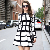 Women Winter Sweater Dress 2018 Fashion Striped Plaid Knitted Warm Dresses Pullovers High Elasticity Clothes