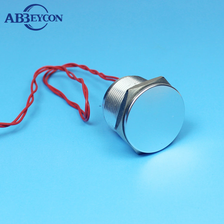 Abbeycon 12V IP68 Waterproof 22mm Normally Open Flat Head Momentary Stainless Touch Electric Wired Push Button Piezo Switch