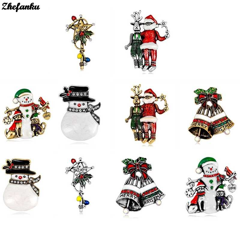 Christmas Brooches Pin XMAS Snowman Brooch Jewelry Enamel Gift New Year Santa Bell Deer broche Accessories Drop Shipping Women