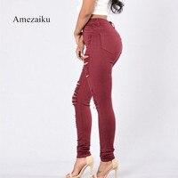 Ripped Broken Women S High Street Hot Red High Waist Pencil Skinny Denim Jeans Pants For