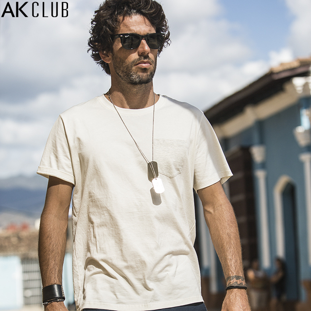 AK CLUB Brand T shirt Cuba Libre Series Contrast Color Breast Pocket ...