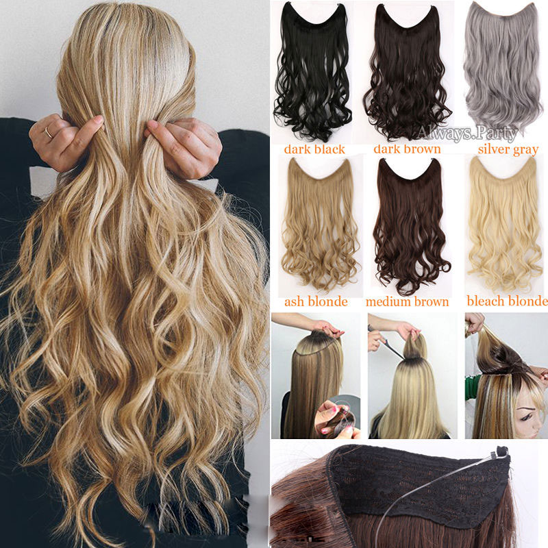 S-noilite Long Synthetic Hair Heat Resistant Hairpiece Fish Line Wavy Hair Extensions Secret Invisible Hairpieces Brown
