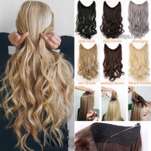 S-noilite Long Synthetic Hair Heat Resistant Hairpiece Fish Line Wavy Extensions Secret Invisible Hairpieces Brown