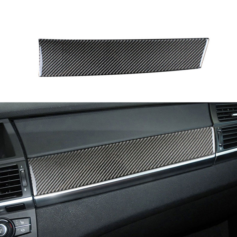 Carbon Fiber Car Interior Control Dashboard Co-pilot Panel Decoration Strip Stickers Cover For BMW E70 E71 X5 X6 Accessories