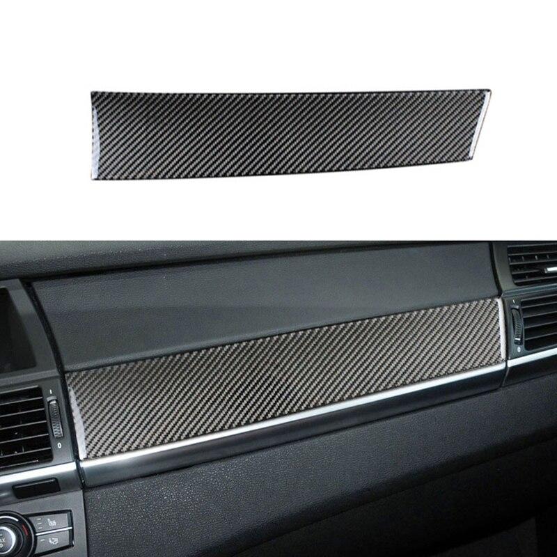 Fibre de carbone voiture contrôle intérieur tableau de bord co-pilote panneau décoration bande autocollants couverture pour BMW E70 E71 X5 X6 accessoires