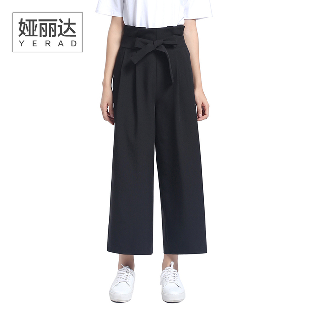 Paperbag YERAD mujeres Pantalones Negros de Cintura hasta Los Tobillos  Pantalones Palazzo Pantalón de Pierna Ancha f311cbd58c10