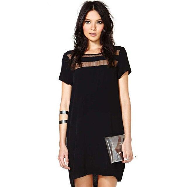 574ecd352a4d6 2018 النساء أزياء العلامة التجارية أسود عارضة فساتين التباين شير قصيرة  الأكمام مثير انظر من خلال