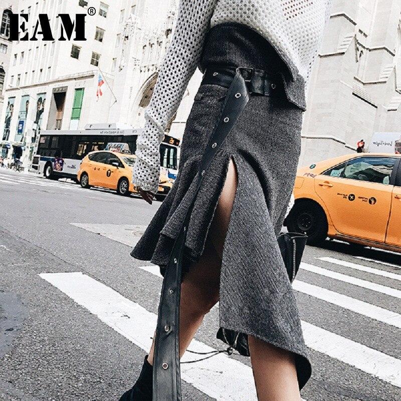 [EAM] Новинка 2019 года весна Высокая талия серый нерегулярные подол Свободные плиссированные Pu шерстяные Половина тела юбка женская мода прил...