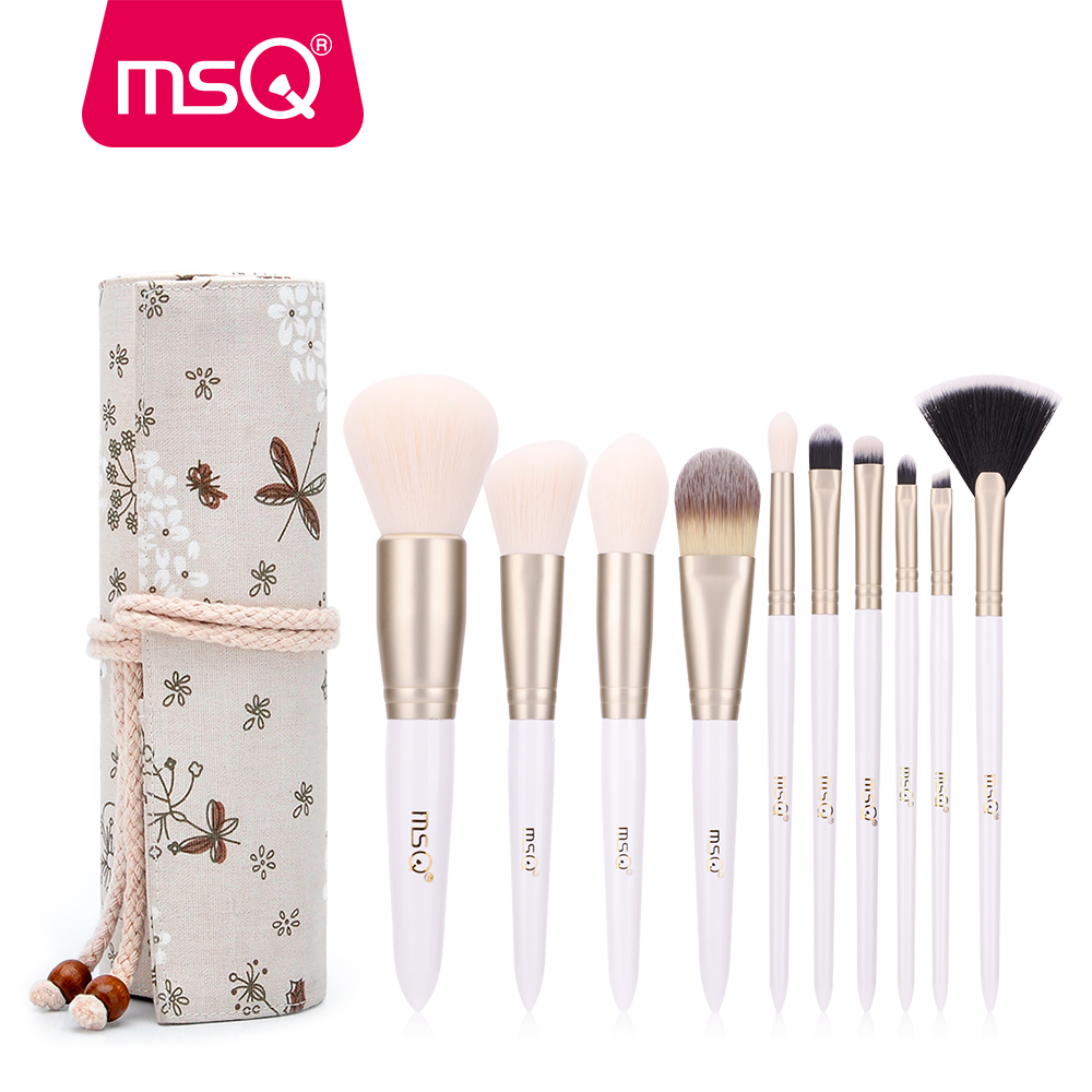MSQ Pro 10pcs Makeup Brushes Set Powder Foundation Eyeshadow Eyebrow Lip Brush Tool With Flax Case Or Delicate Resin Cylinder