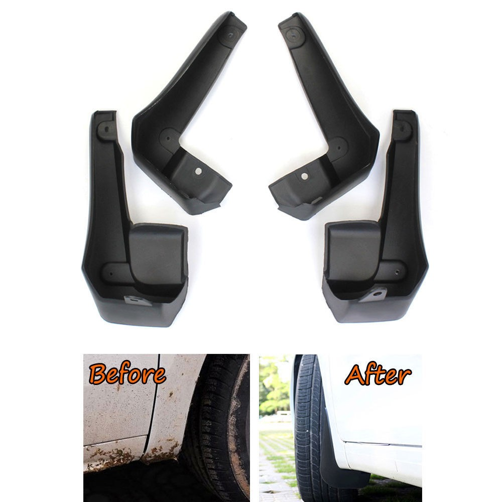 Black 2 piece front or rear 11 x 19 Mud Guards Splash Flaps Universal for Jeep