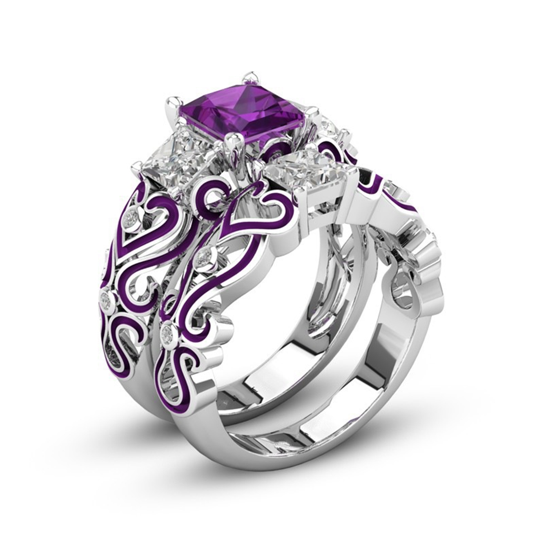 Purple CZ Zircon Stone Vintage Big Silver Ring Set for