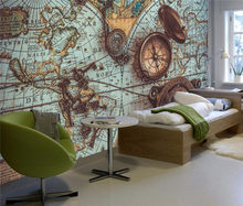 Custom 3d wall paper retro world map pocket watch wallpaper sofa restaurant living room TV wall decoration painting(China)
