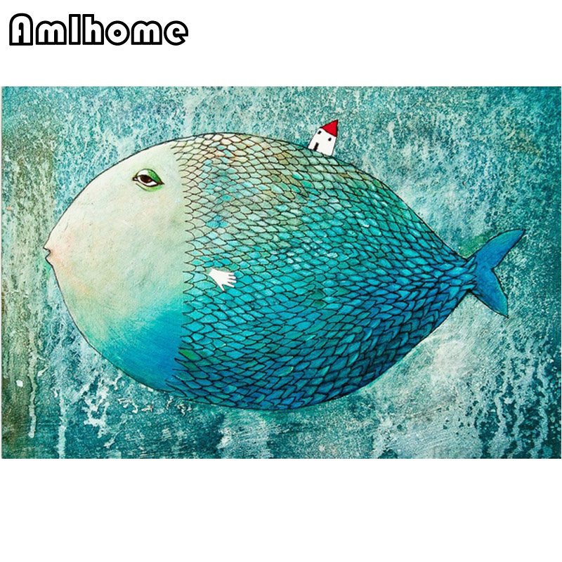 AMLHOME 2017 New Needlework Big Fish Small House Diamond Painting Mosaic Diamond Embroidery With Home Decoration HC0405