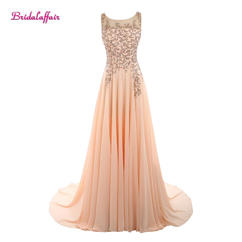 Bridalaffair Real Photo Pink Chiffon Scoop Neck Appliques Lace   Prom     Dresses   2017 Sweep Train Sleeveless Party Gown Robe de festa