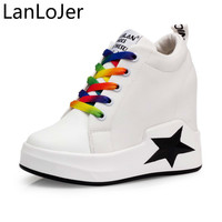 LanLoJer 10cm Hiddel Heel Casual Shoes Woman Fashion Lace Up Platform Canvas Shoes Ladies Sneakers Women Height Increasing Shoes