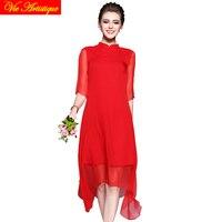 red silk chiffon long sleeve qipao haut cheongsam modern vintage chinese bride wedding dress modern shanghai story 2018 spring