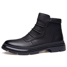 Factory direct trend sewing stitch and totem decoration male Martin boots high solid color grain leather wild casual