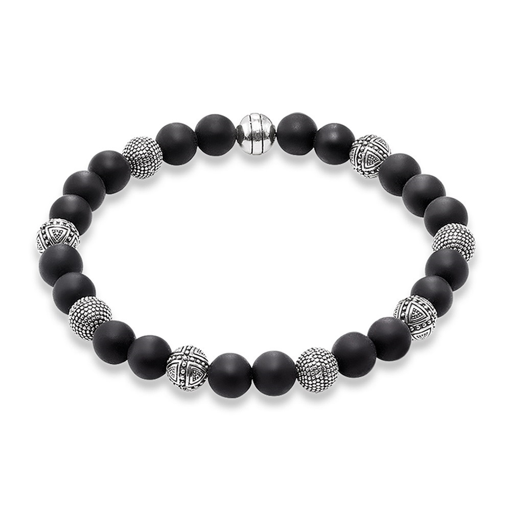 Strand Bracelets with Kathmandu and Cross Beads,2019 New Blackened Silver Rebel Fashion Jewelry Gift For Women Men Boy Girls