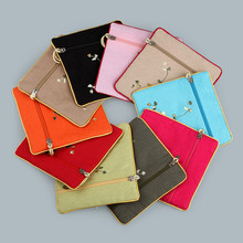 11.5*11.5cm Zipper Jewelry Bags Handmade Women Small Holder Gifts Bag Jute Linen Chinese Embroidered Pocket Pouches