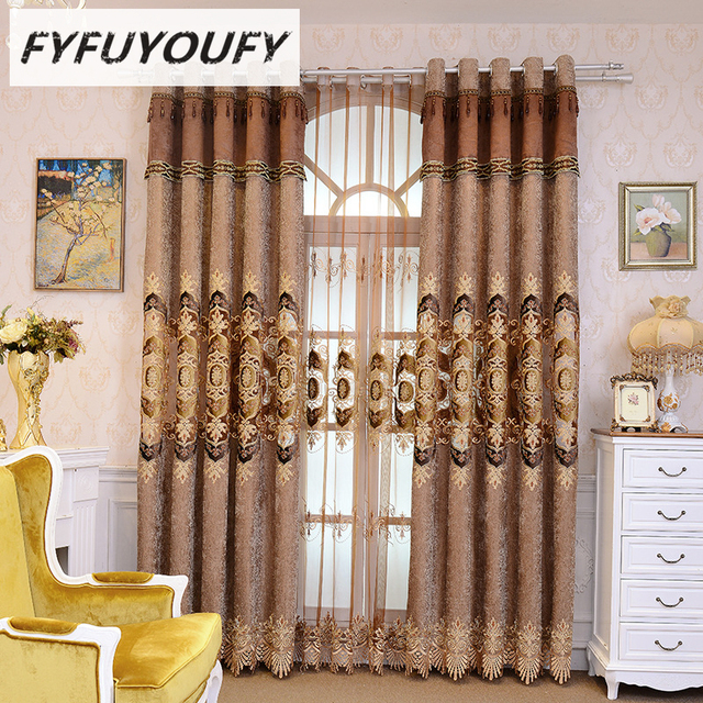 Polyester Cotton Embroidery Luxury Villa Curtains For Living Room Windows  Classic European High End Custom