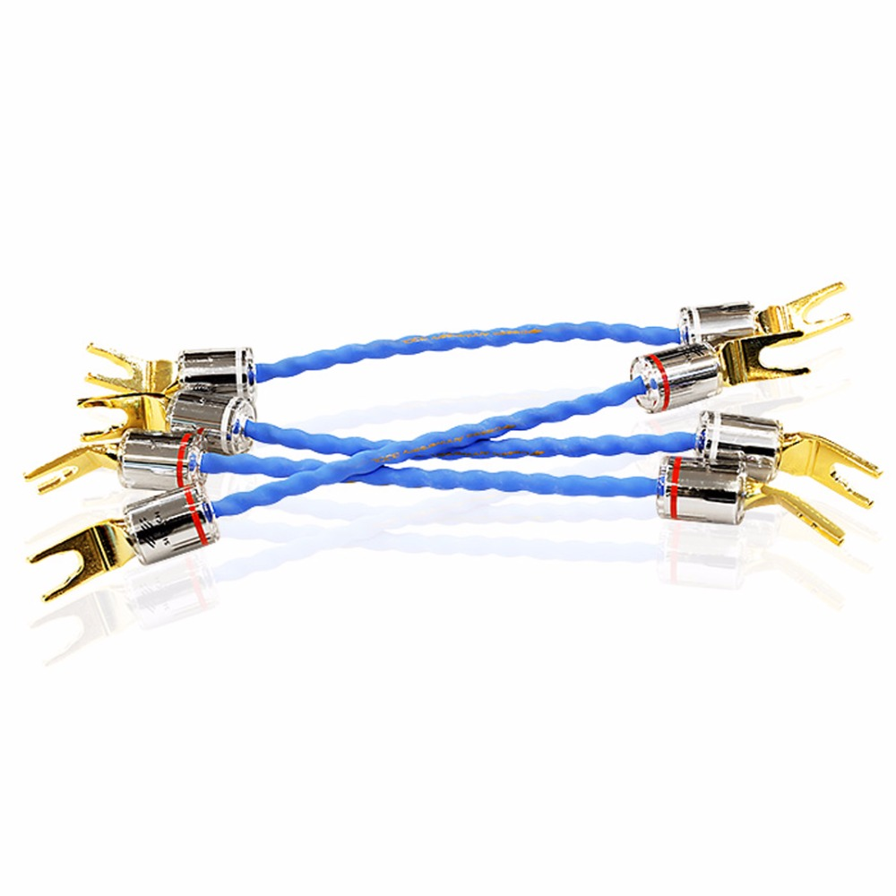 Free shipping 4pcs moonsaudio G7 Emperor Double Crown Jump cable Bradge cable for speakers with spade connectors silv