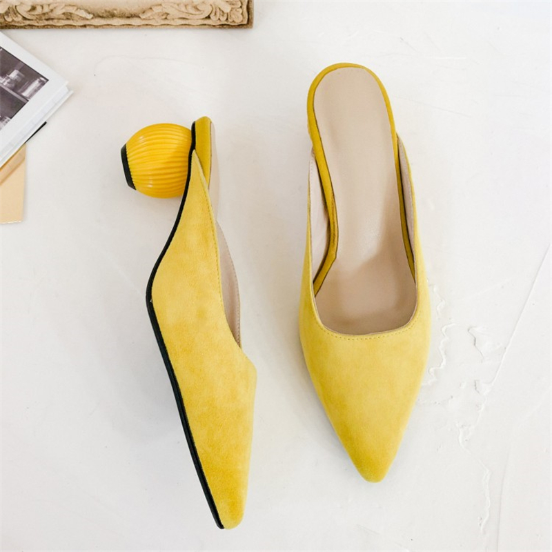 MSSTOR Kid Suede Women Mules Yellow Fashion Elegant Strange Style Rubber Women Summer Slippers Pointed Toe High Heels Slippers