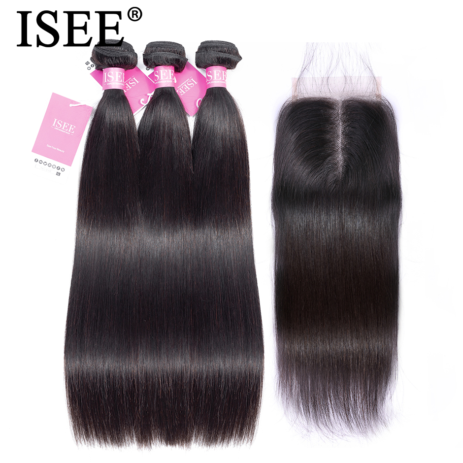 Straight Hair Bundles With Closure Malaysian Human Hair Bundles With Closure ISEE HAIR Bundles Remy Straight